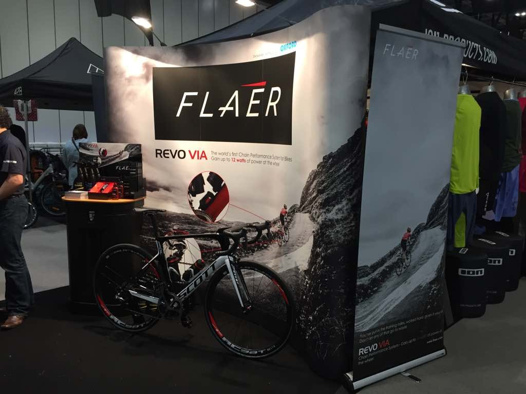2017 Scott Foil with Revo Via fitted and Flaér POS display at The London Bike Show