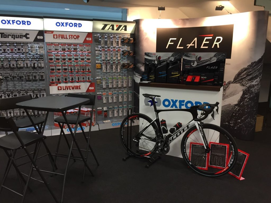 2017 Scott Foil with Revo Via fitted and Flaér POS displays at The Bike Place Show